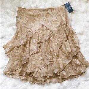 Ralph Lauren Layered Ruffle Snake Chiffon Skirt